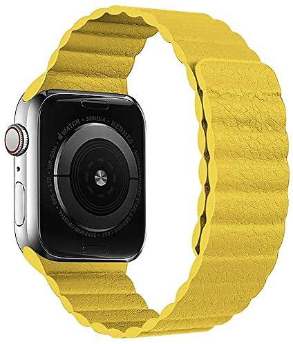 Bracelete Cabedal Banda Magnética Amarela