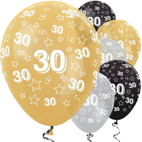 30th Birthday Gold Mix Balloons