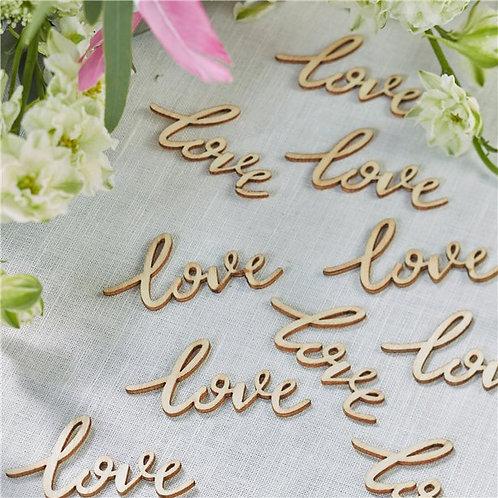 Love Wooden Table Confetti