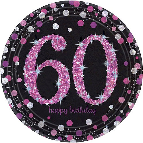 60th Birthday Party Plates Pink