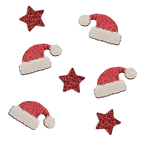 Christmas Red Glitter Wooden Hats And Stars Table Confetti