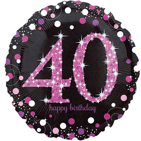 Happy 40th Birthday Pink Sparkling Celebration Balloon