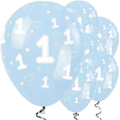 1st Birthday Light Blue Balloons