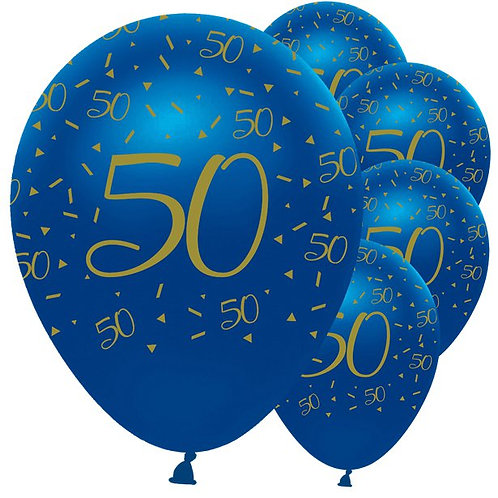 50th Happy Birthday Navy And Gold Balloons