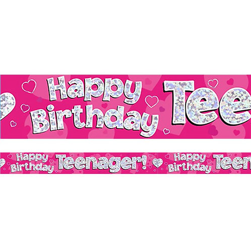Happy Birthday Teenager Foil Banner Pink