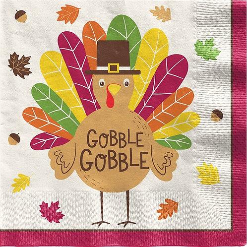 Thanksgiving Gobble Gobble Dinner Napkins