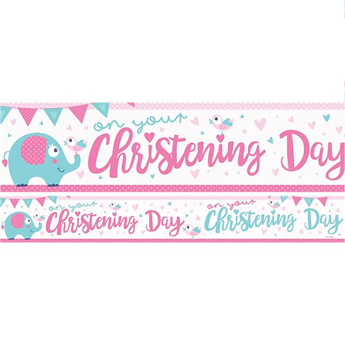Christening Day Pink Paper Banners