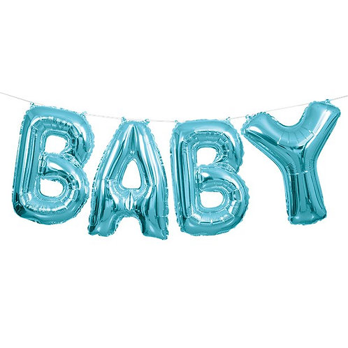 Baby Blue Foil Balloon Bunting