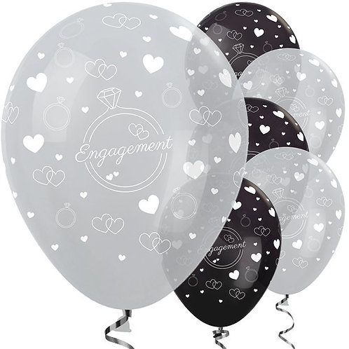 Engagement Party Balloons Silver & Black