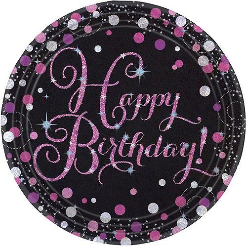 Happy Birthday Pink Paper Plates