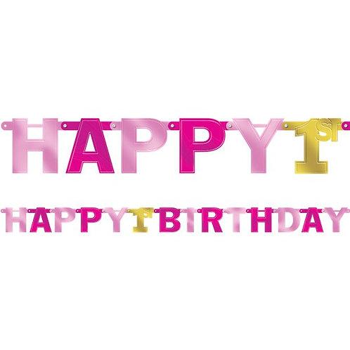 1st Happy Birthday Large Foil Letter Banner Pink