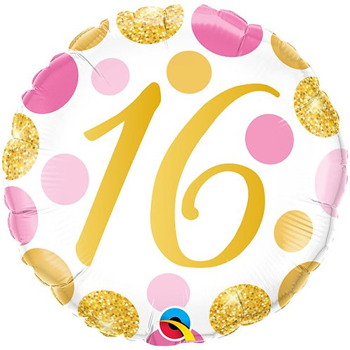 16th Birthday Pink & Gold Dots Foil Balloon