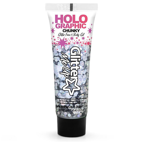 Chunky Gilter Face And Body Gel. Colour Silver.