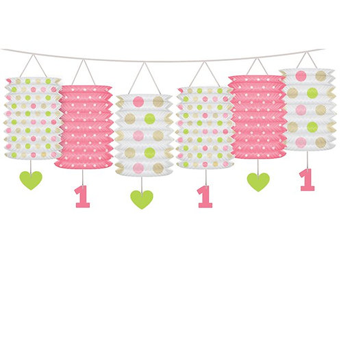 1st Birthday Pink Mix Lantern Garland