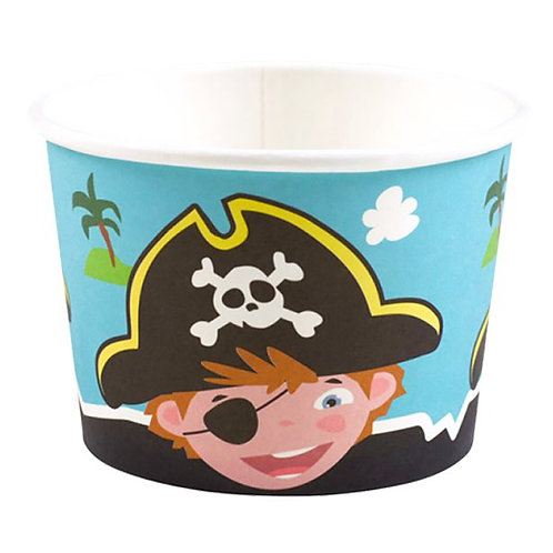 Captain Pirate Party Ice Cream Tubs Set Of 8