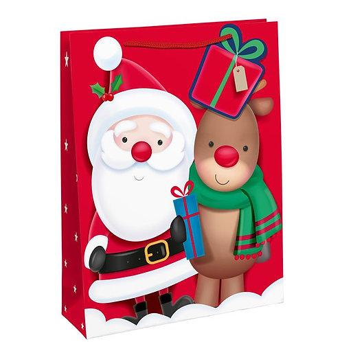 Santa and Rudolph Large Gift Bag