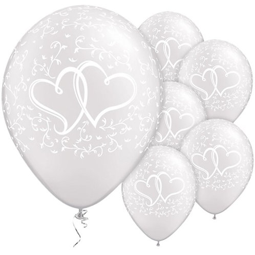 White Entwined Hearts Wedding Latex Balloons