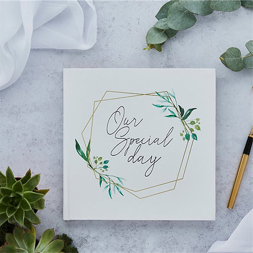 Geometric Greenery Wedding Guest Book