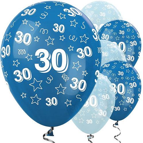 30th Birthday Blue Mix Stars Latex Balloons