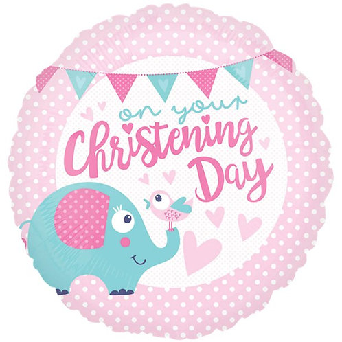 Christening Day Pink Foil Balloon