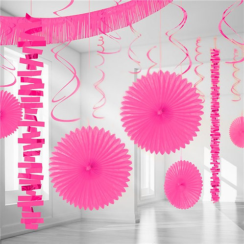 Bright Pink Paper & Foil Room Party Decorating Kit.