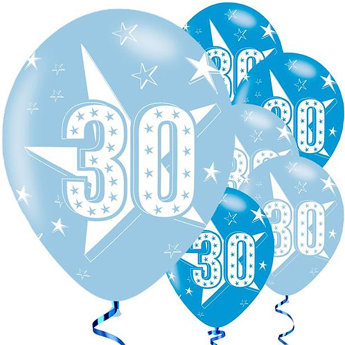 30th Birthday Blue Latex Balloons