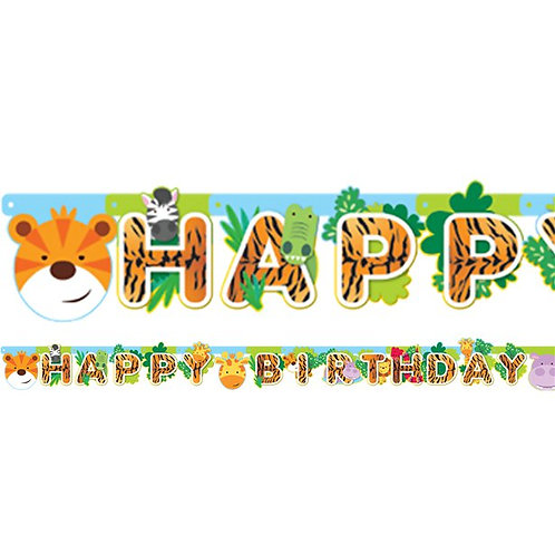Animal Friends Happy Birthday Party Banner