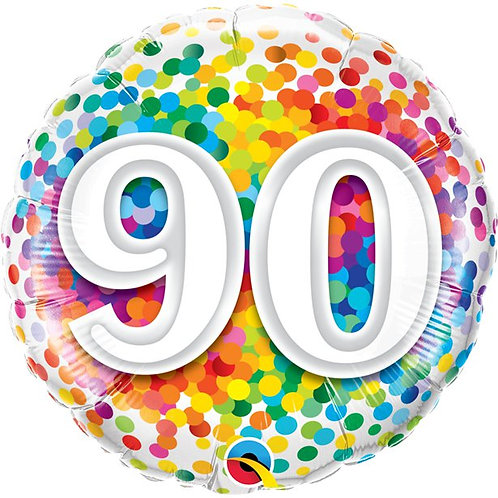 90th Birthday Rainbow Confetti Foil Balloon