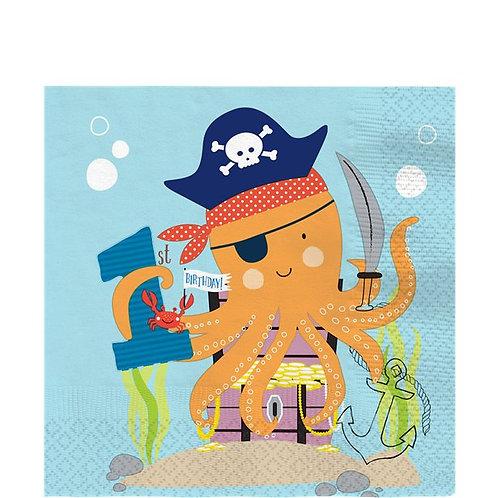 Pirate Ahoy Birthday 1st Party Napkins