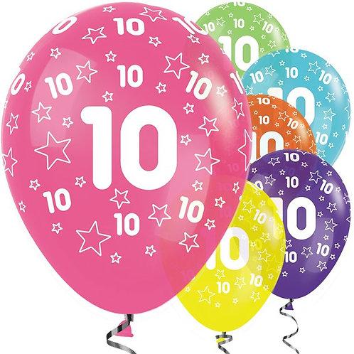 10th Birthday Mix Stars Balloons