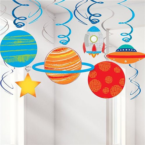 Outer Space Party Swirl Hanging Decorations
