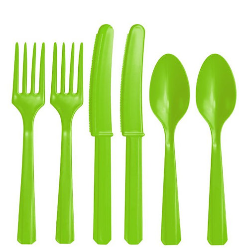 Lime Green Plastic Cutlery Pack