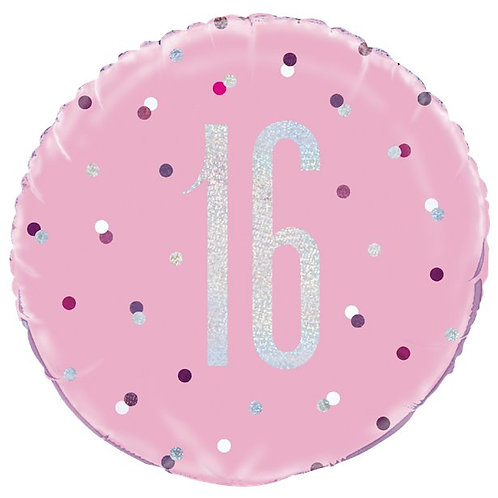 16th Birthday Foil Pink Balloon