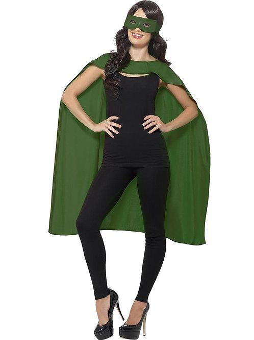Adult Superhero Unisex Green Cape And Mask