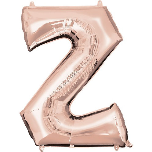 "Giant Foil Helium Letter Z Balloons Size 34"" Rose Gold"