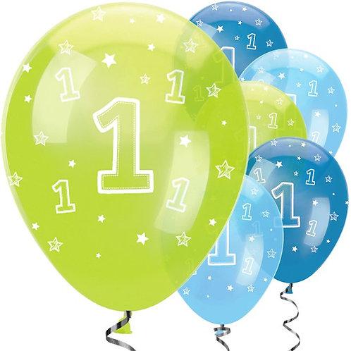 1st Birthday Boys Mixed Balloons