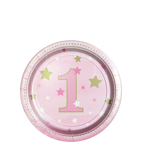 One Little Star Pink Paper Plates