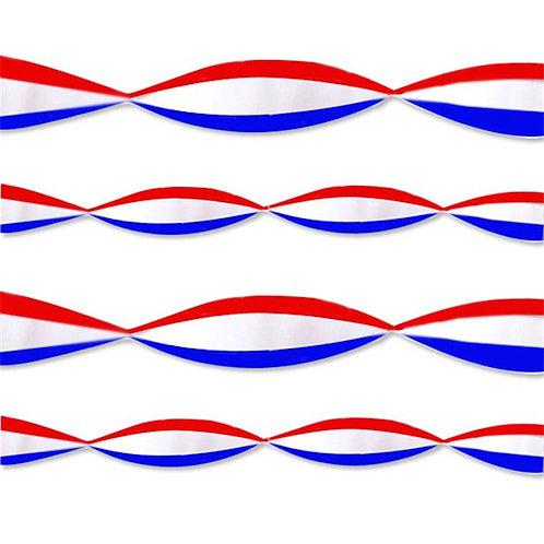 Red White & Blue Crepe Streamer