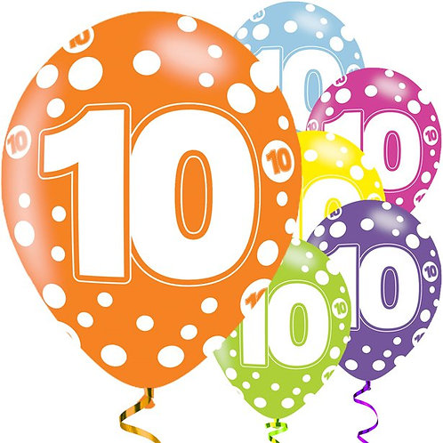 10th Birthday Assorted Colour Balloons