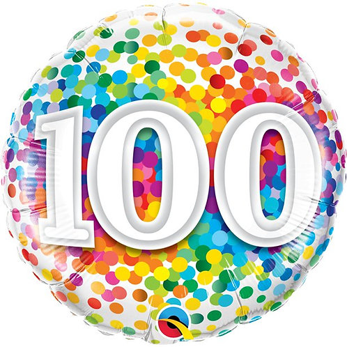 100th Birthday Rainbow Confetti Foil Balloon