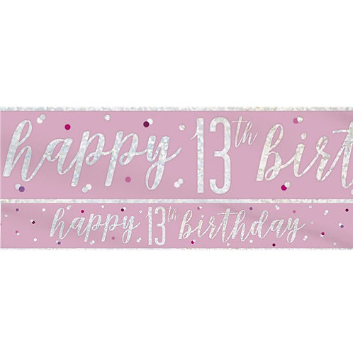 13th Birthday Pink Party Foil Banner