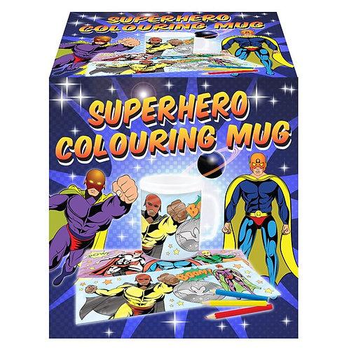 Childrens Colouring Themed Mugs Superhero