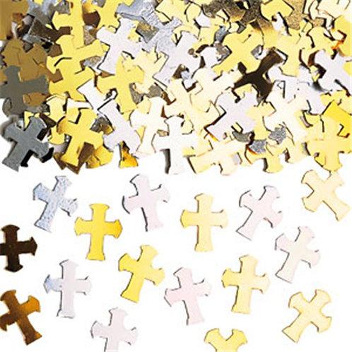 Silver & Gold Cross Table Confetti