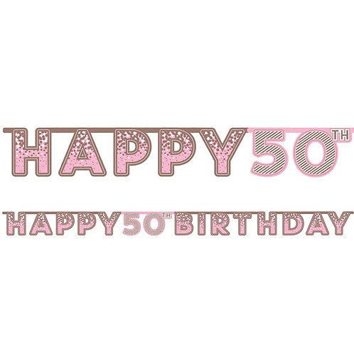 50th Happy Birthday Letter Banner Pink