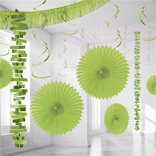 Lime Green Paper & Foil Room Party Decorating Kit