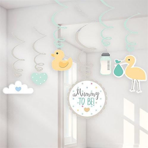 Baby Wishes Hanging Swirls