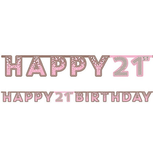21st Happy Birthday Letter Banner Pink