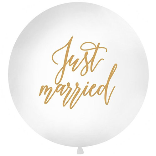 Gold Just Married Giant Latex Balloon