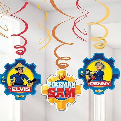 Fireman Sam Hanging Swirl Decorations