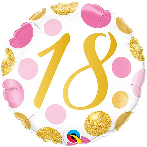 18th Birthday Pink & Gold Dots Foil Balloon